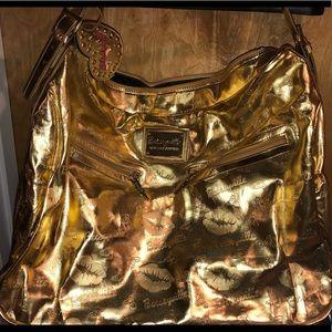 Betsy Johnson Betsyville XL Gold Hobo tote